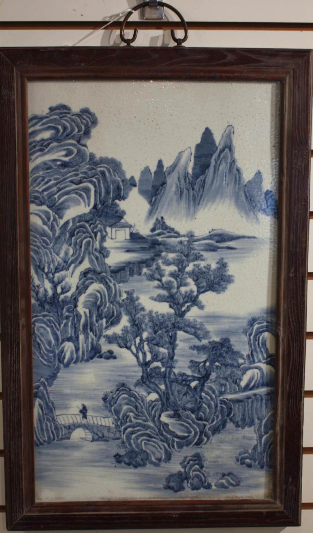 Lot 557: CHINESE BLUE AND WHITE PORCELAIN PLAQUE, hand pain