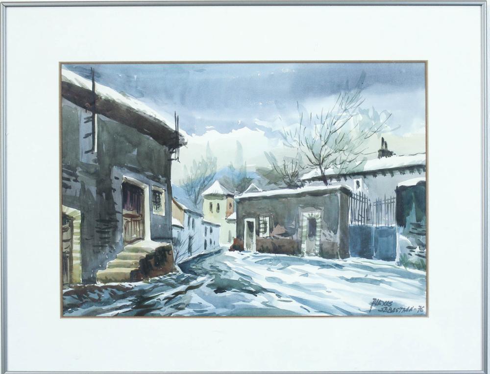 Lot 556: ALEXIS SEBASTIAN WATERCOLOR ON PAPER, European vil