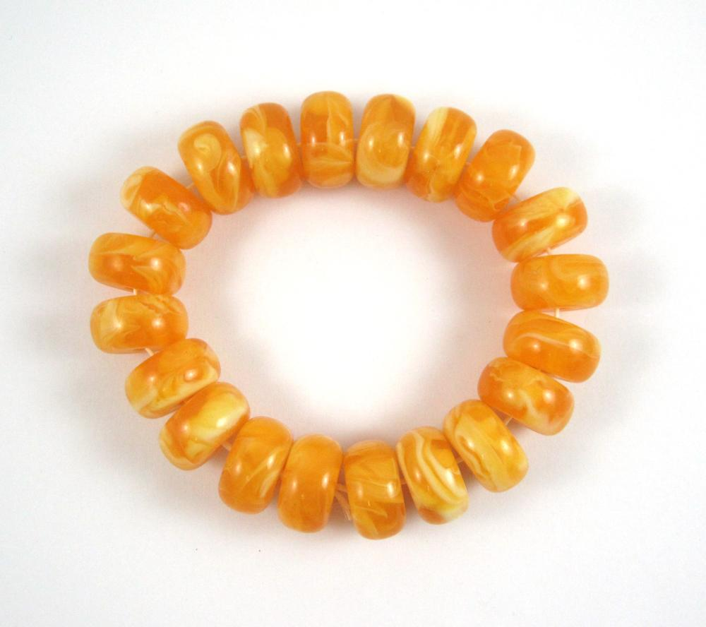 Lot 573: TWO PRESSED BALTIC AMBER STRETCH BRACELETS: 1.) s