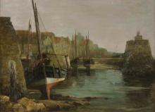 Lot 376: TOM CURR (Scotland, 1887-1958) oil on canvas, dock