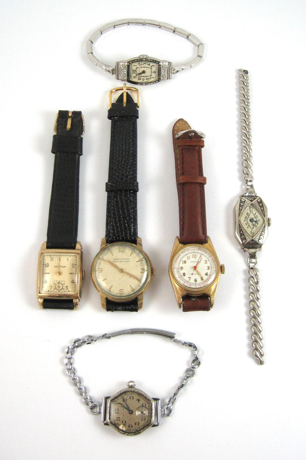 Lot 355: SIX COLLECTIBLE WALTHAM WRIST WATCHES: ladies art