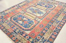 Lot 489: HAND KNOTTED TURKISH CARPET, Caucasian Kazak desig