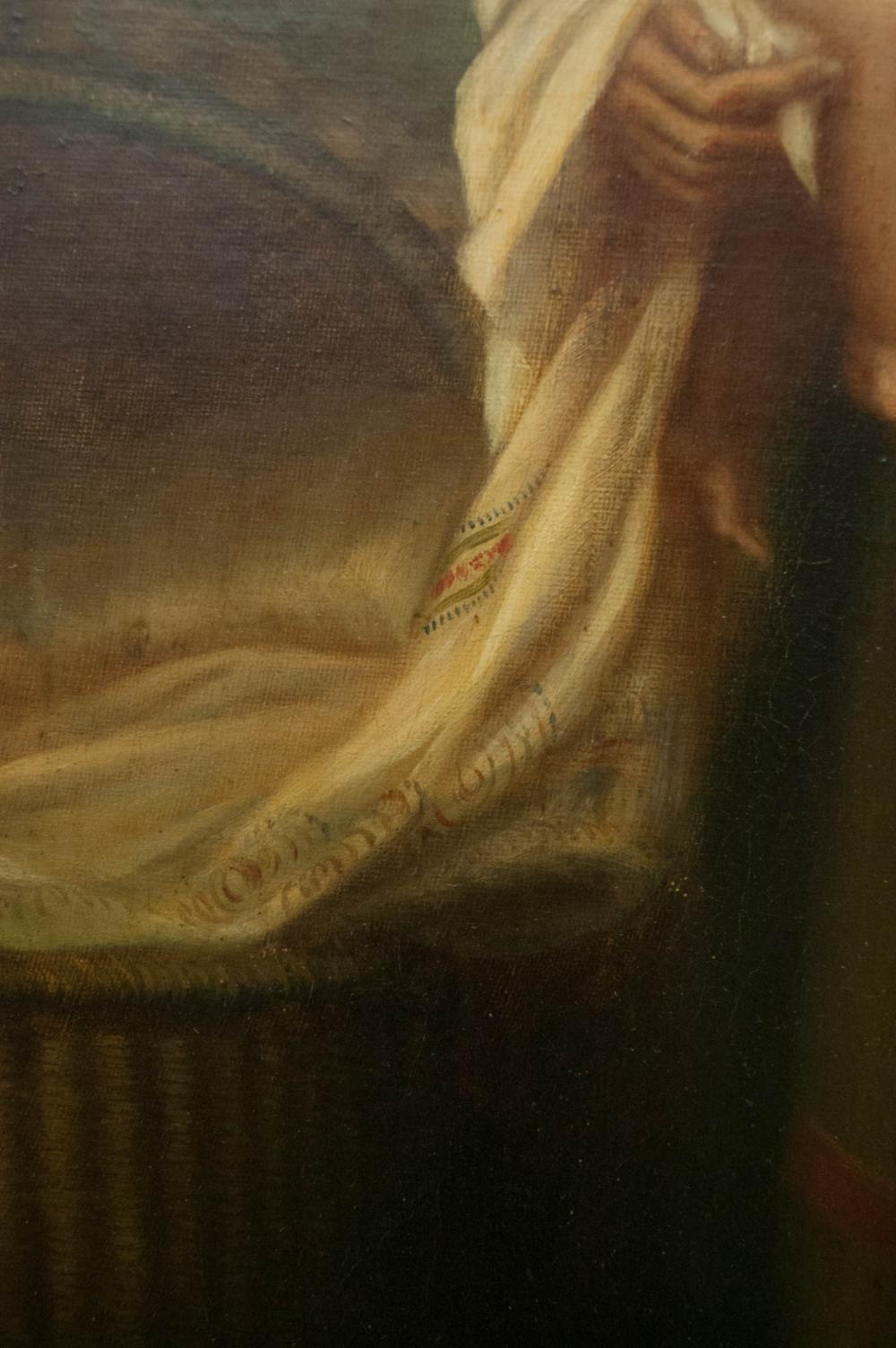 Lot 460: TWO OILS ON CANVAS: a woman holding a child; a po