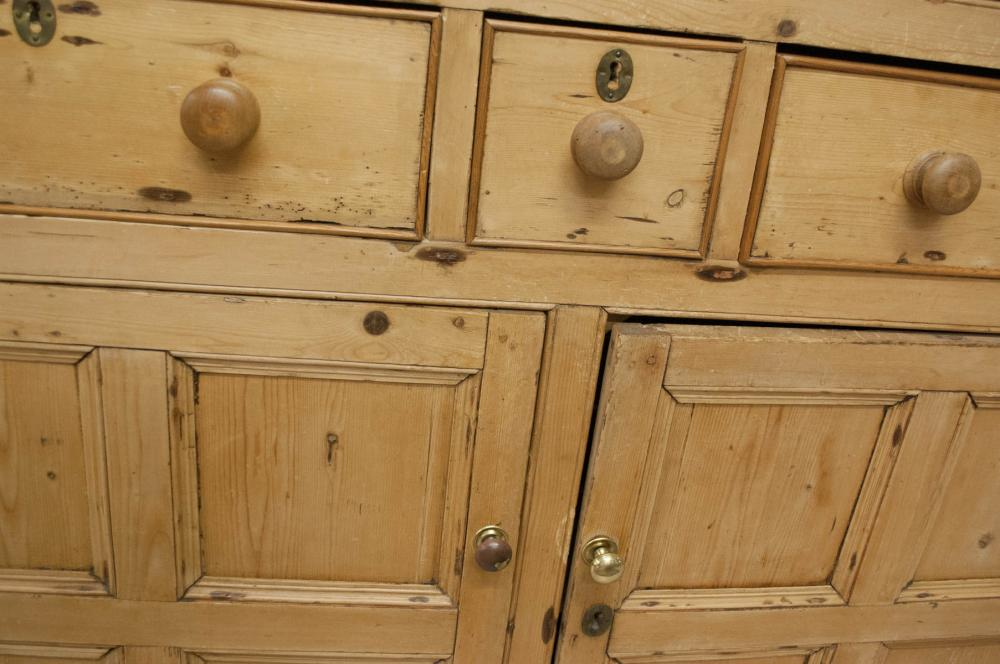 Lot 396: A LARGE PINE CABINET, English, 19th century, havin