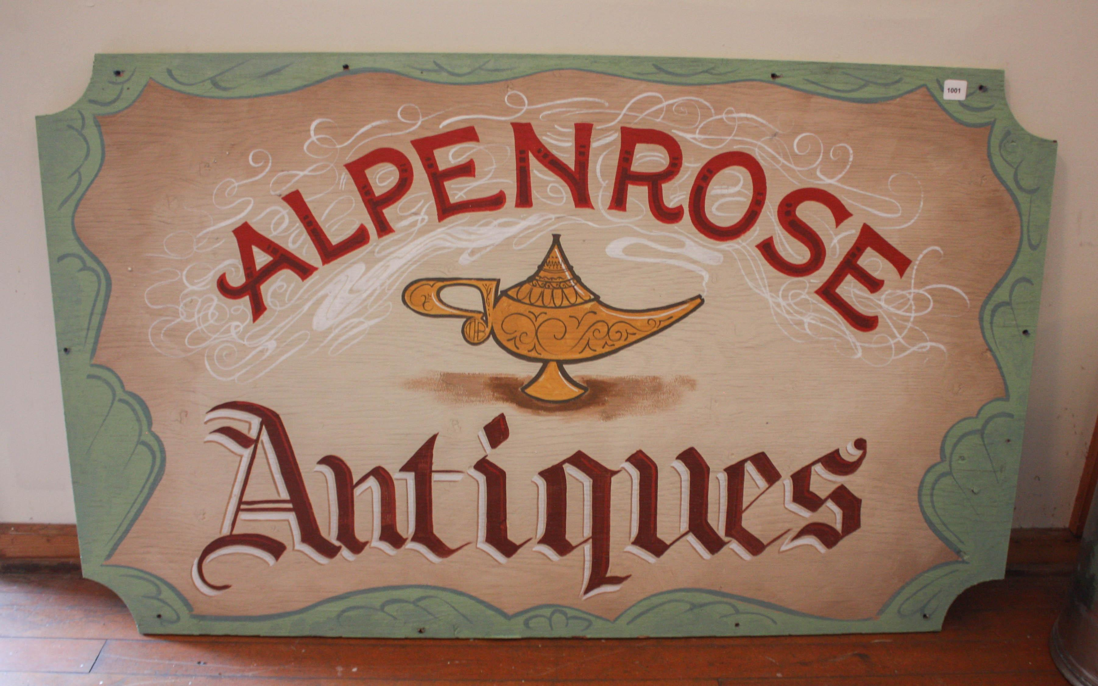 ALPENROSE ANTIQUES' SIGN