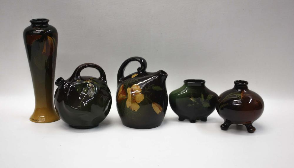 Lot 288: FIVE AMERICAN ART POTTERY VESSELS, each with flora