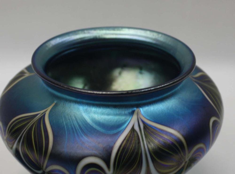 Lot 6: THREE ORIENT & FLUME IRIDESCENT ART GLASS VESSELS,