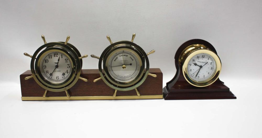 "Lot 13: THREE NAUTICAL ITEMS the first a Seth Thomas 4"" ti"