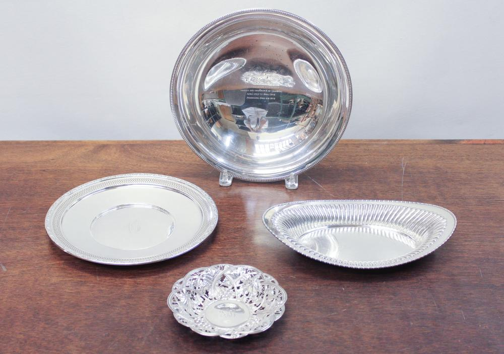 Lot 10: FOUR STERLING SILVER HOLLOWWARE ITEMS, including 1