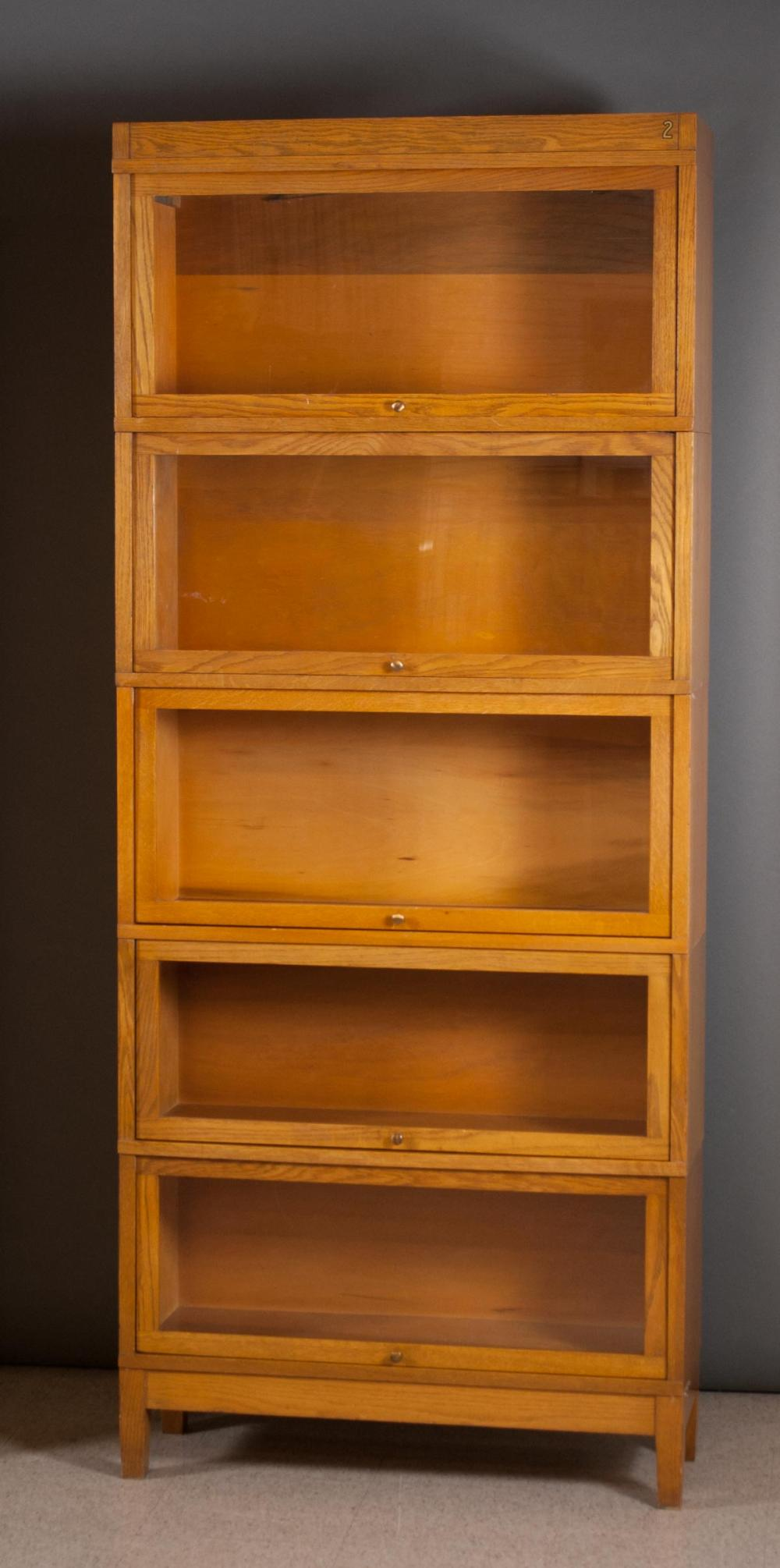 Lot 42: STACKING OAK SECTIONAL BOOKCASE, Globe-Wernicke Co