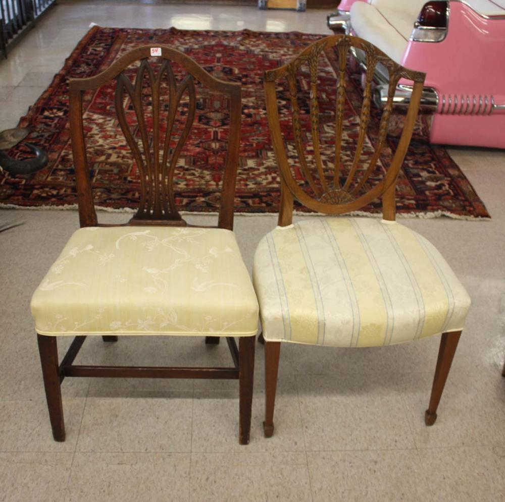 Lot 54: TWO SETS OF FEDERAL STYLE MAHOGANY DINING CHAIRS,