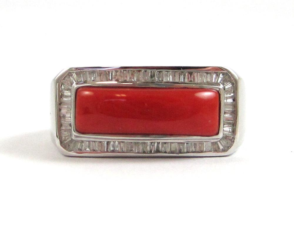 Lot 55: CORAL, DIAMOND AND FOURTEEN KARAT WHITE GOLD RING,