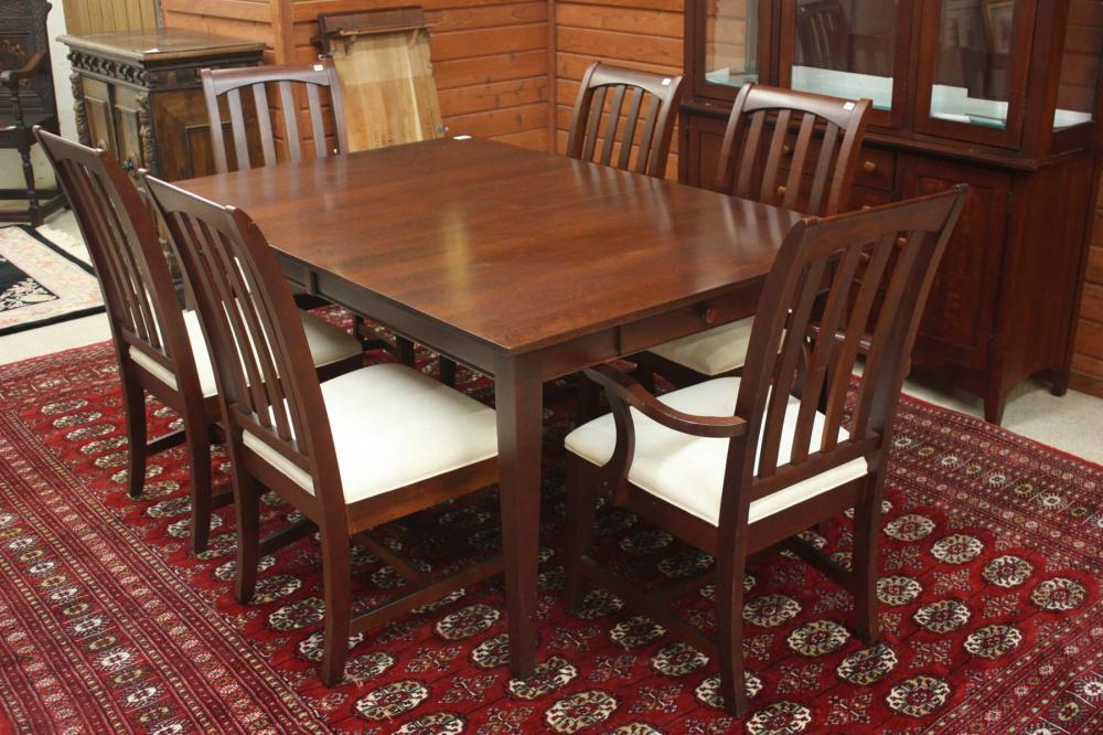 Lot 77: SHAKER STYLE CHERRY DINING TABLE AND CHAIR SET, Ki