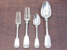 Lot 82: THIRTY-NINE PIECE ASSEMBLED COIN SILVER FLATWARE S