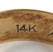 Lot 92: COLLECTION OF FOUR YELLOW GOLD RINGS: 1.) 14k yel