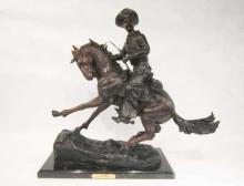 Lot 124: FOUR WESTERN BRONZE HORSE AND RIDER SCULPTURES, af