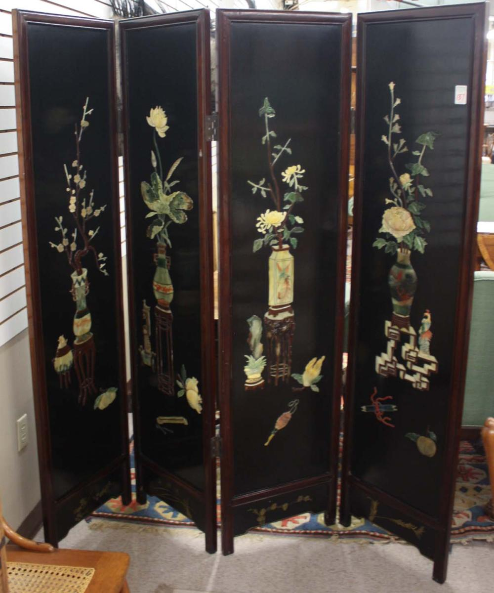 Lot 137: CHINESE FOUR-PANEL FLOOR SCREEN, Ming style, each