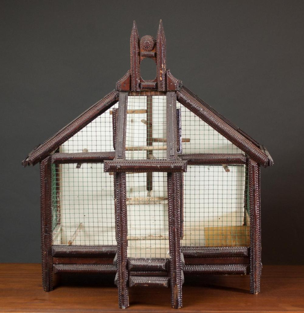 Lot 151: TRAMP ART WOOD BIRDCAGE, American ethnic folk art