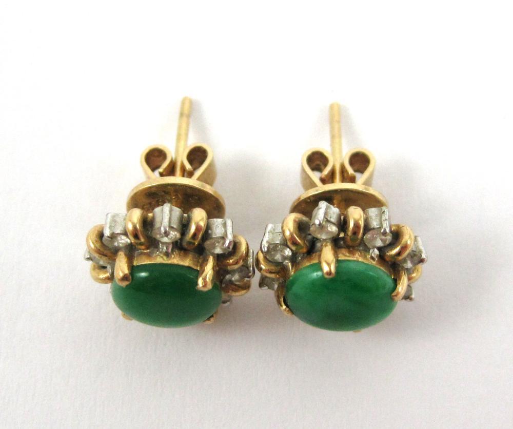 Lot 146: PAIR OF JADE AND DIAMOND STUD EARRINGS, each 14k y