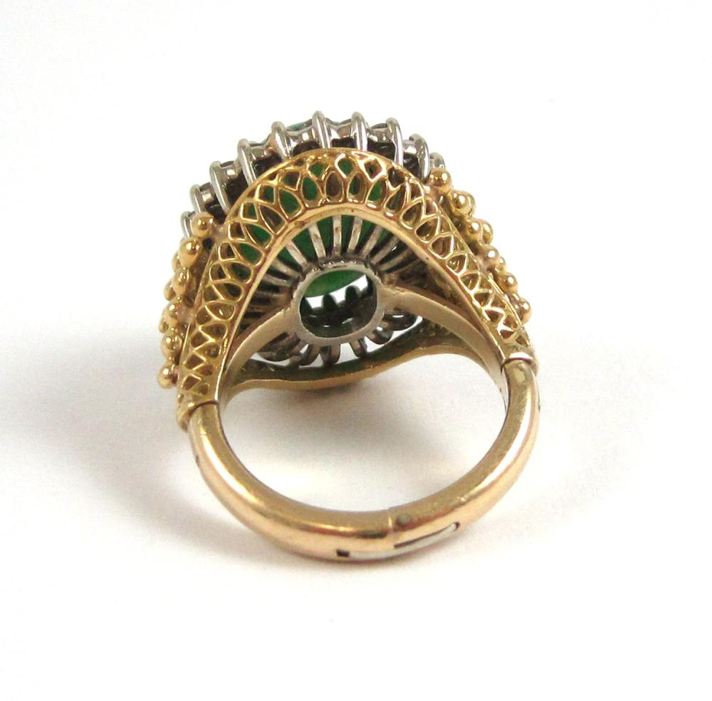 Lot 145: HARDSTONE, DIAMOND AND FOURTEEN KARAT GOLD RING.
