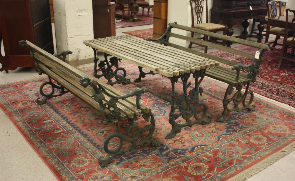 Lot 156: THREE-PIECE WOOD AND CAST IRON PATIO AND GARDEN FU