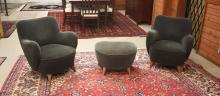 Lot 161: A PAIR OF KAGAN BARREL LOUNGE CHAIRS AND MATCHING