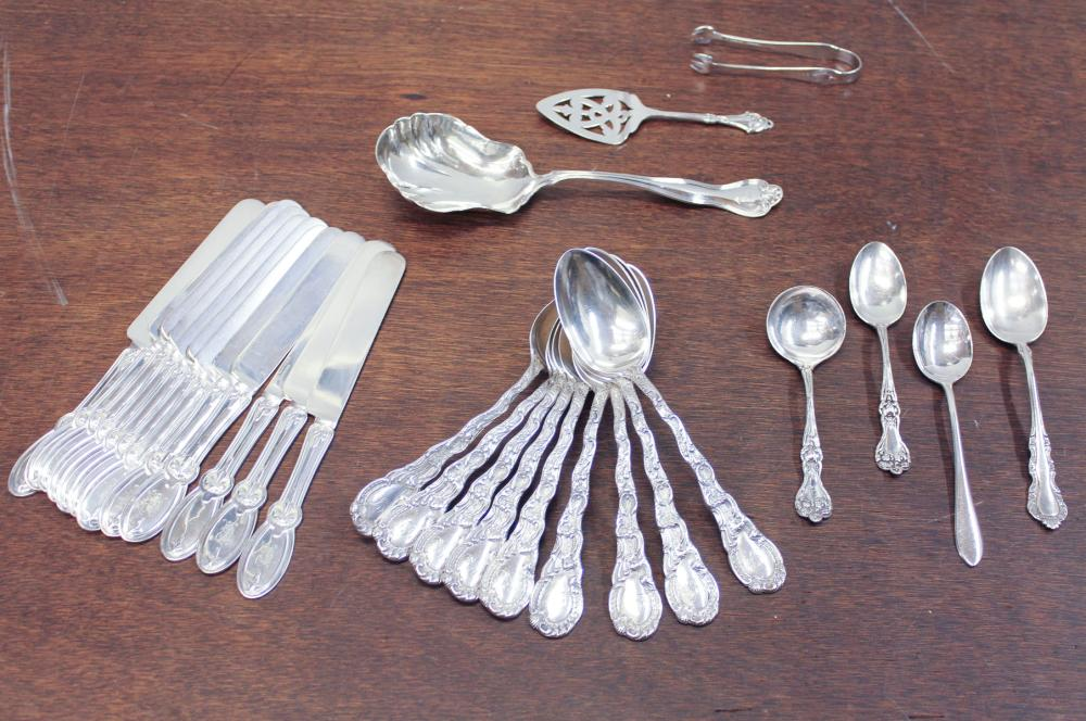 Lot 181: TWENTY-EIGHT PIECES OF STERLING SILVER FLATWARE, a