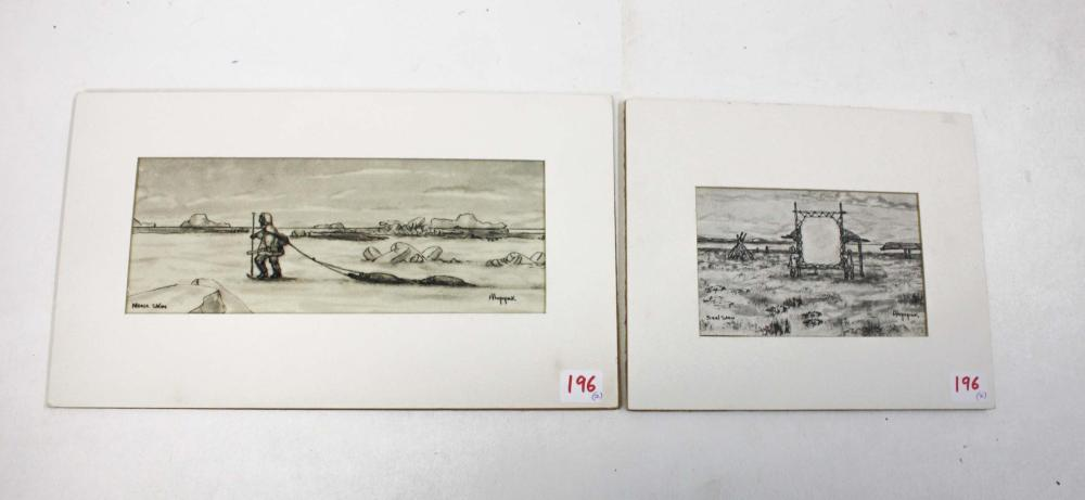 Lot 196: GEORGE AHGUPUK (Alaska, 1911-2001) two ink drawing