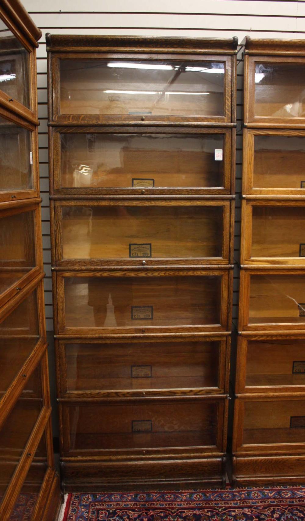 Lot 187: SIX-SECTION STACKING OAK LAWYER BOOKCASE, Globe-We