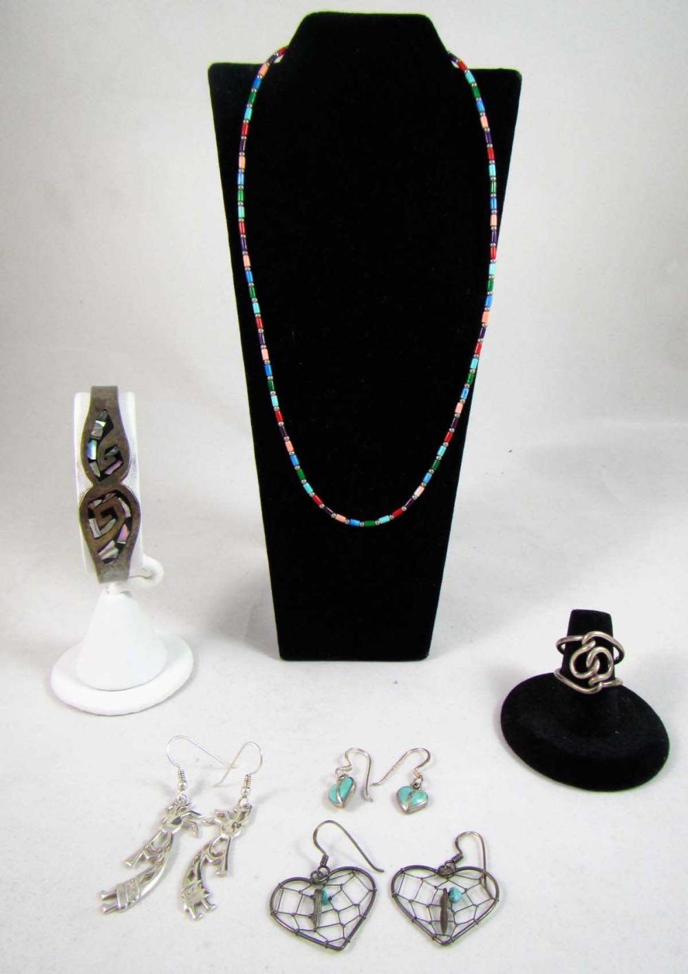 Lot 203: SIX PIECE COLLECTION OF SILVER JEWELRY, including