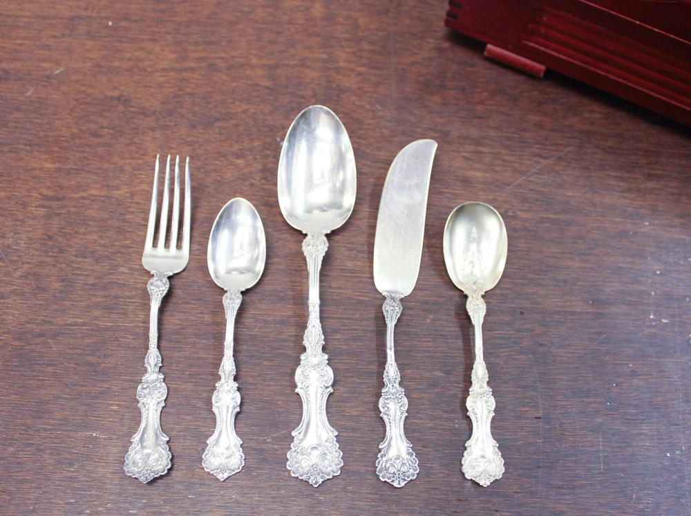 "Lot 205: WHITING ""POMPADOUR"" STERLING SILVER FLATWARE SET,"