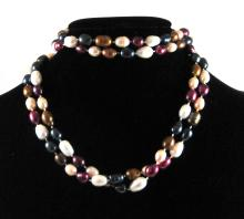 Lot 208: TWO ROPE LENGTH MULTI COLOR PEARL NECKLACES, inclu