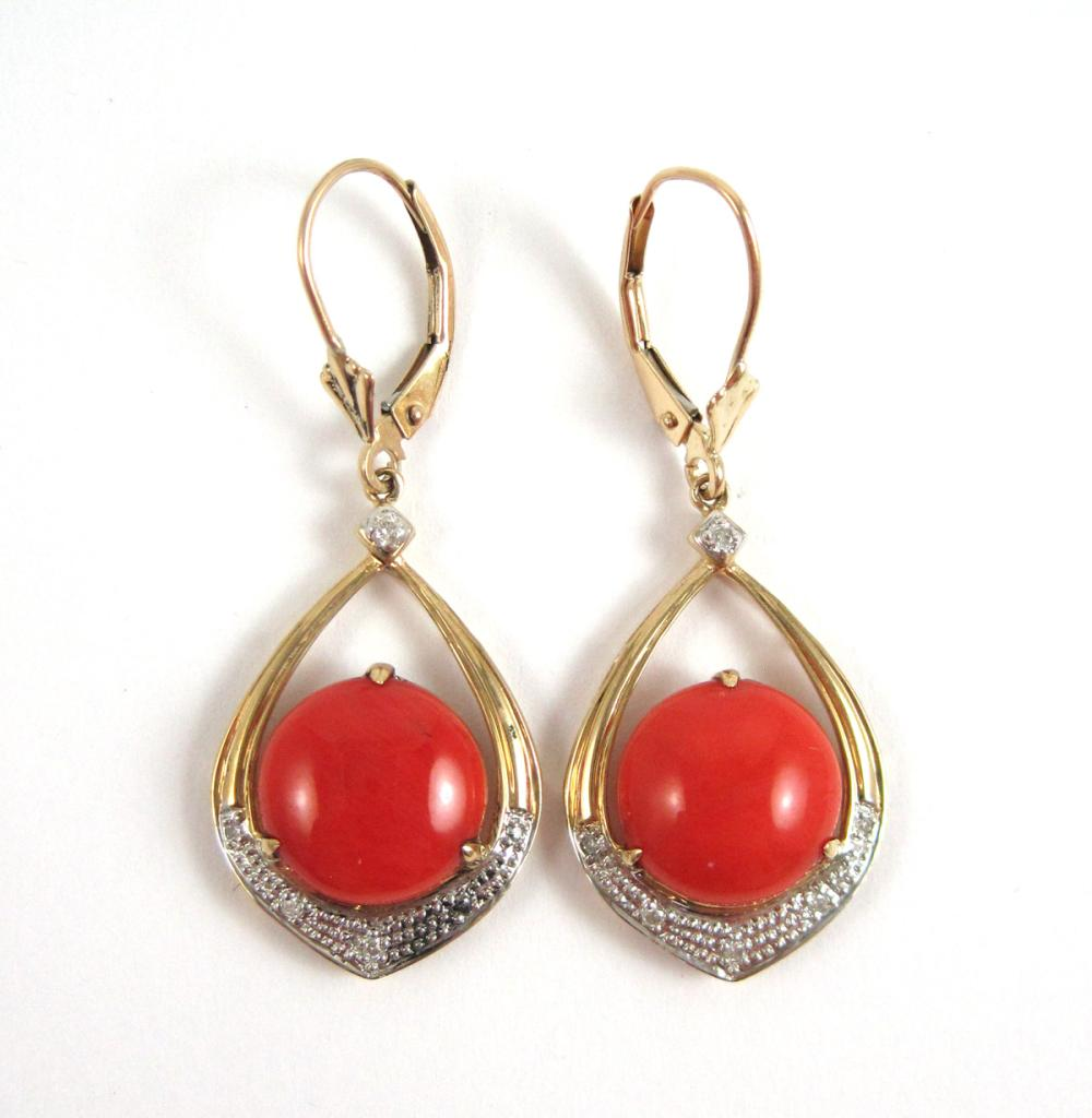Lot 211: PAIR OF CORAL AND DIAMOND DANGLE EARRINGS, each 14