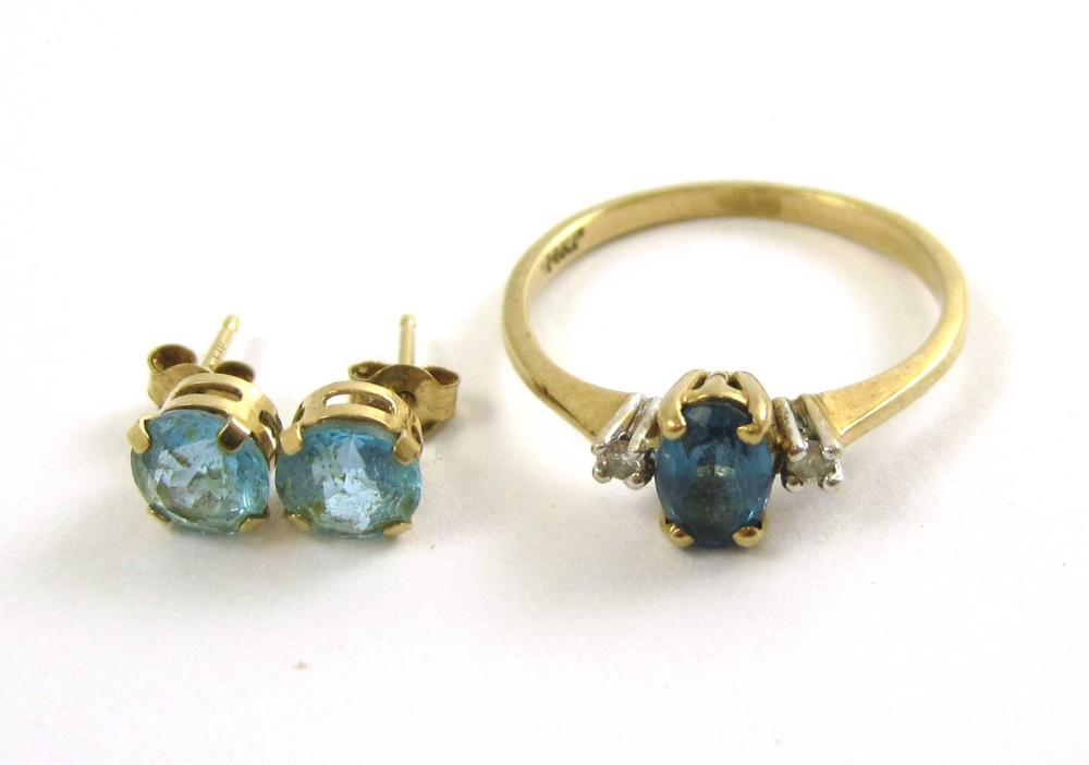 Lot 239: BLUE TOPAZ RING AND PAIR OF EAR STUDS, including a