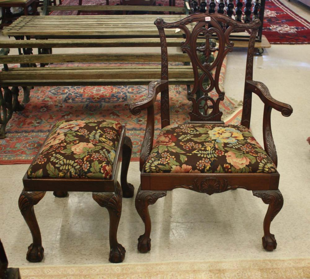 Lot 250: CLASSIC CHIPPENDALE STYLE MAHOGANY ARMCHAIR AND FO