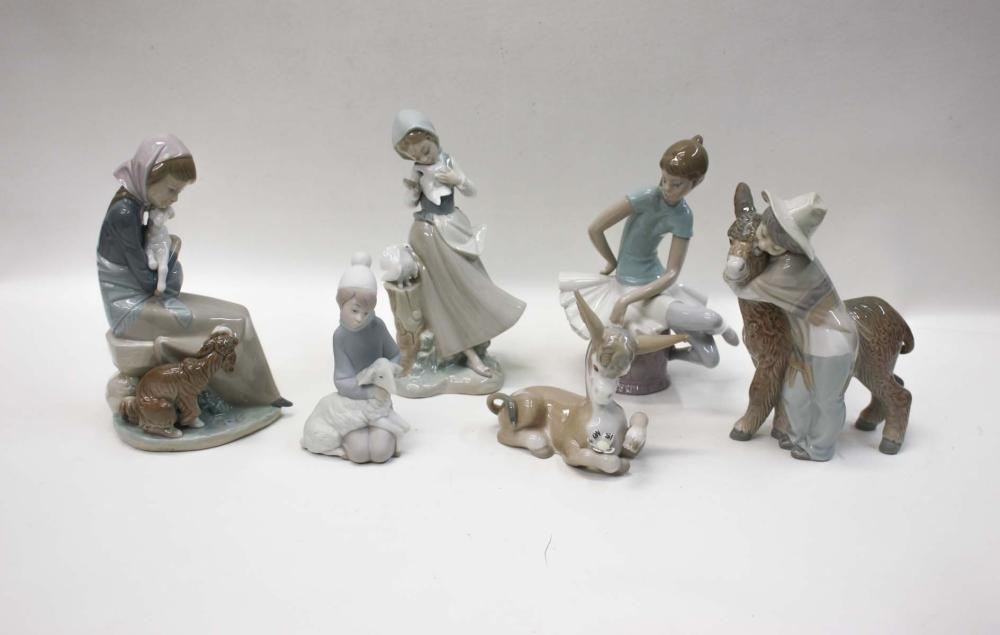 """Lot 268: SIX LLADRO PORCELAIN FIGURINES: """"Girl With Pigeon"""