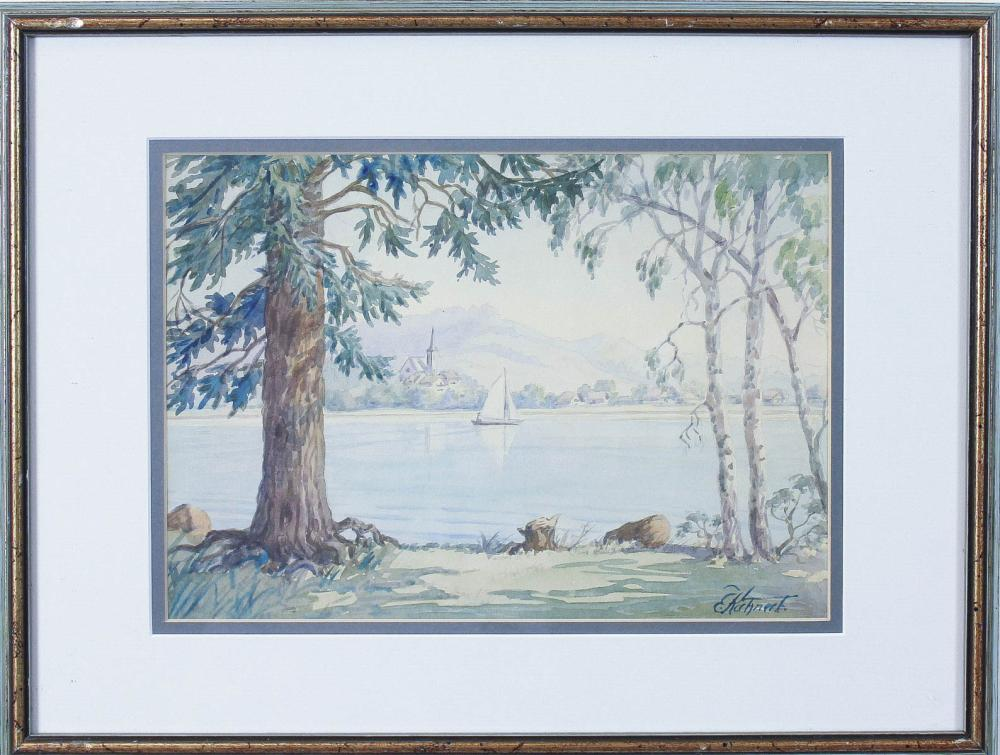 Lot 261: E. KUHNERT two watercolors and a hand colored lith