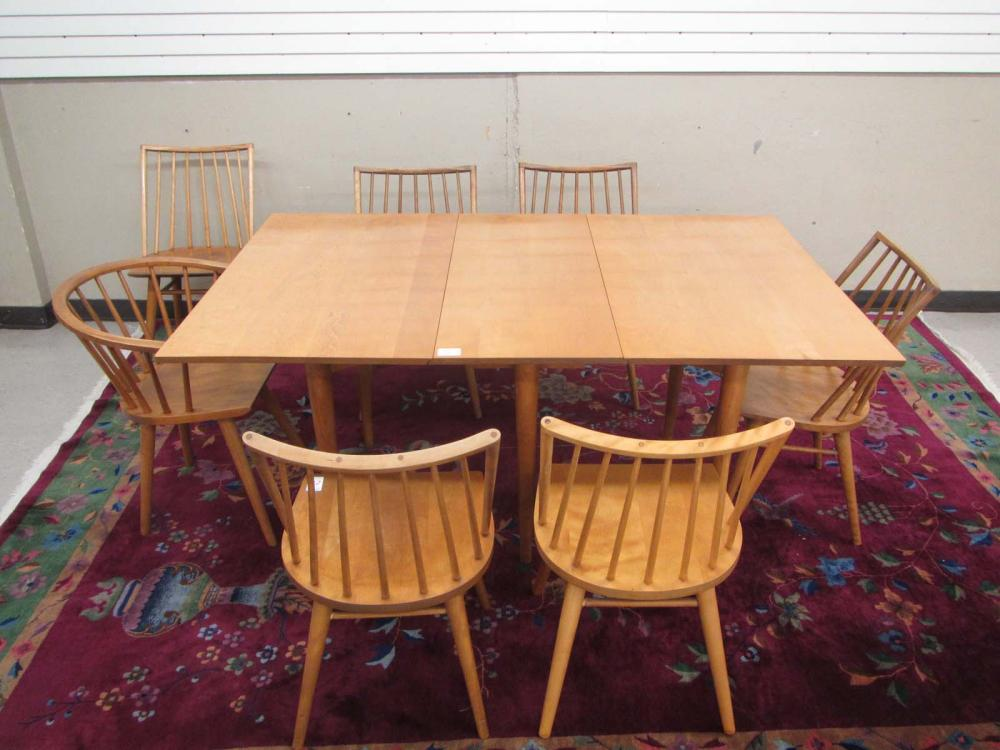 Lot 271: MID-CENTURY MODERN DINING TABLE AND SEVEN CHAIR DI