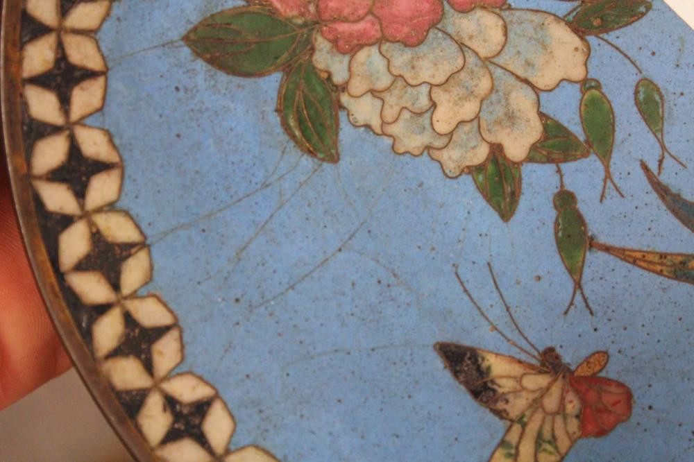 Lot 197: SIX JAPANESE CLOISONNE ITEMS, with various birds,