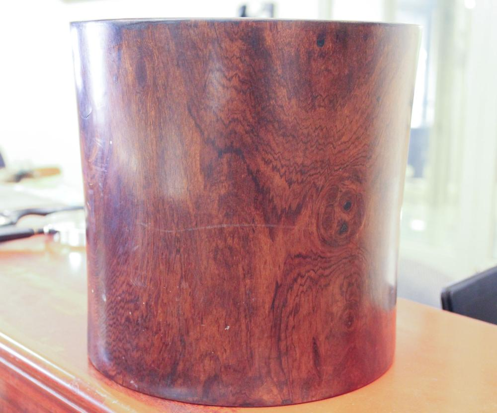 """Lot 32: CHINESE ROSEWOOD BRUSH POT. Dimensions: 7.25""""H x"""