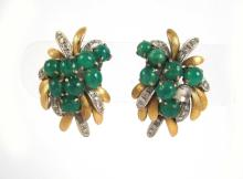 Lot 247: PAIR OF GREEN CABOCHON AND DIAMOND CLIP-ON EARRING