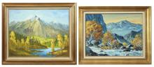 TWO MOUNTAIN LANDSCAPES, OIL PAINTINGS: Don Schaf