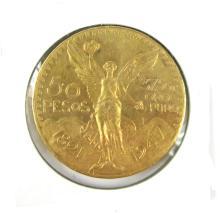 MEXICO FIFTY PESOS GOLD COIN, 1.2057 troy ounces o