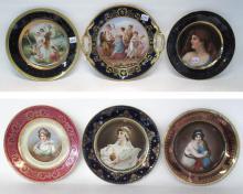 SIX AUSTRIAN PORCELAIN PORTRAIT PLATES, each plate