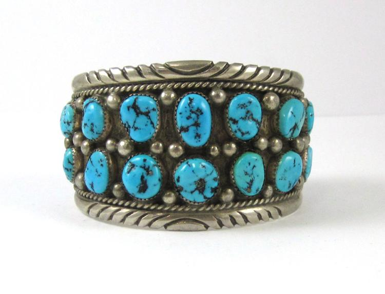 TOMMY MOORE HAND MADE SILVER AND TURQUOISE CUFF BR