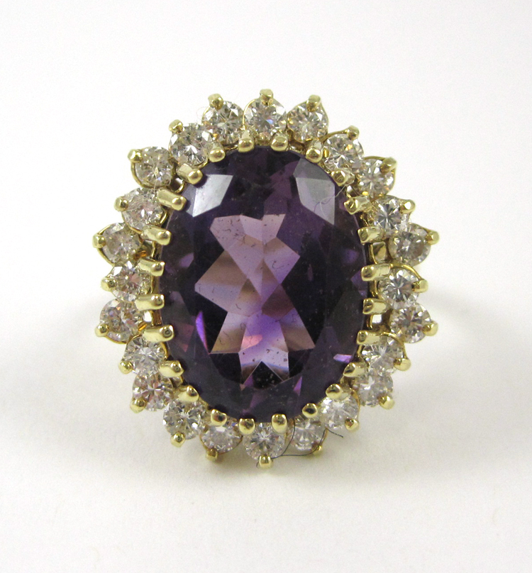 AMETHYST, DIAMOND AND FOURTEEN KARAT GOLD RING, wi
