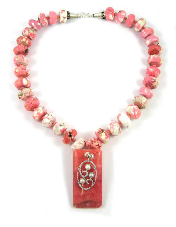 RHODOCHROSITE, HOWLITE AND CORAL NECKLACE, measuri