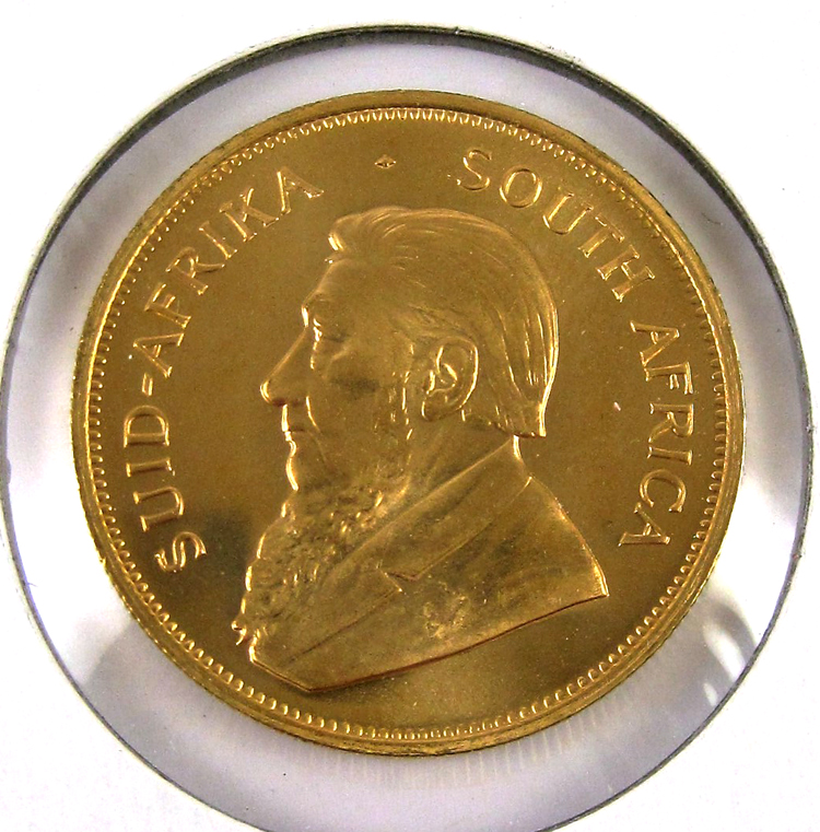 ONE SOUTH AFRICAN KRUGERRAND GOLD COIN, 1 oz. net