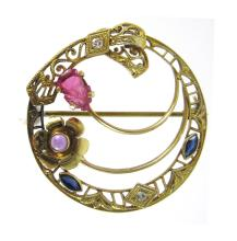 RUBY, SAPPHIRE, AMETHYST AND DIAMOND BROOCH.  The