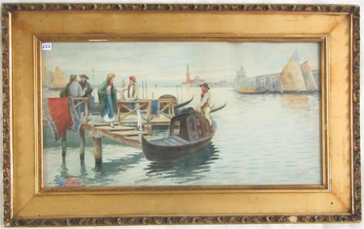 P.J. SANCTIS WATERCOLOR ON PAPER (Italy, 20th cent